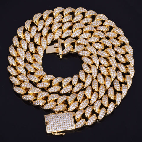 20mm Goldplated Miami Cuban Ketting - ICED OUT