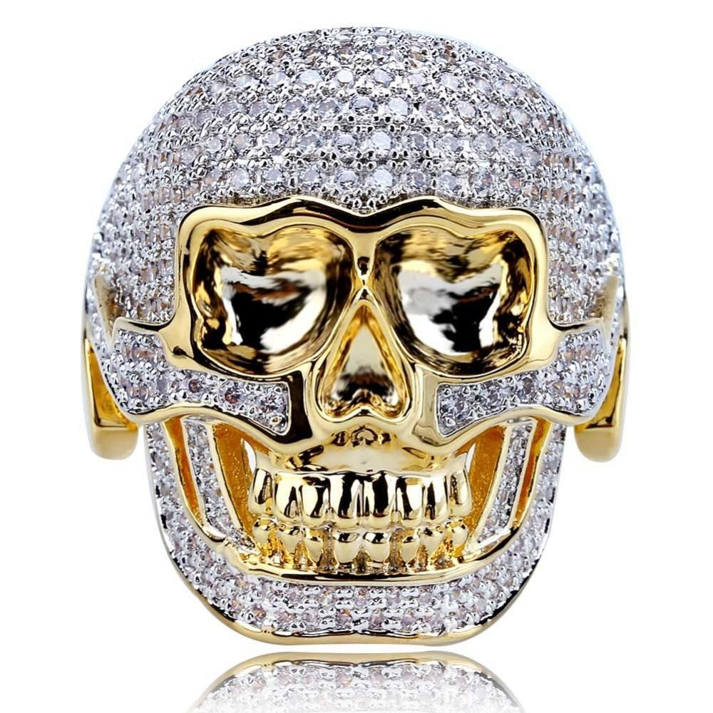 Iced Out Biker Skull Ring - ICED OUT