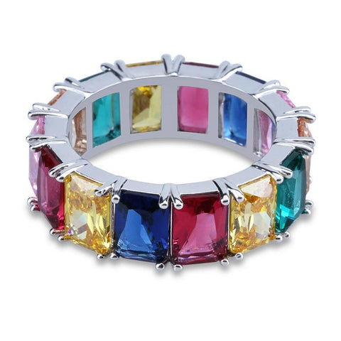Image of Silverplated Regenboogkleuren Ring - ICED OUT