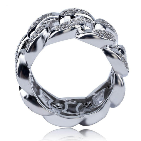 13mm Silverplated Miami Cuban Ring - ICED OUT