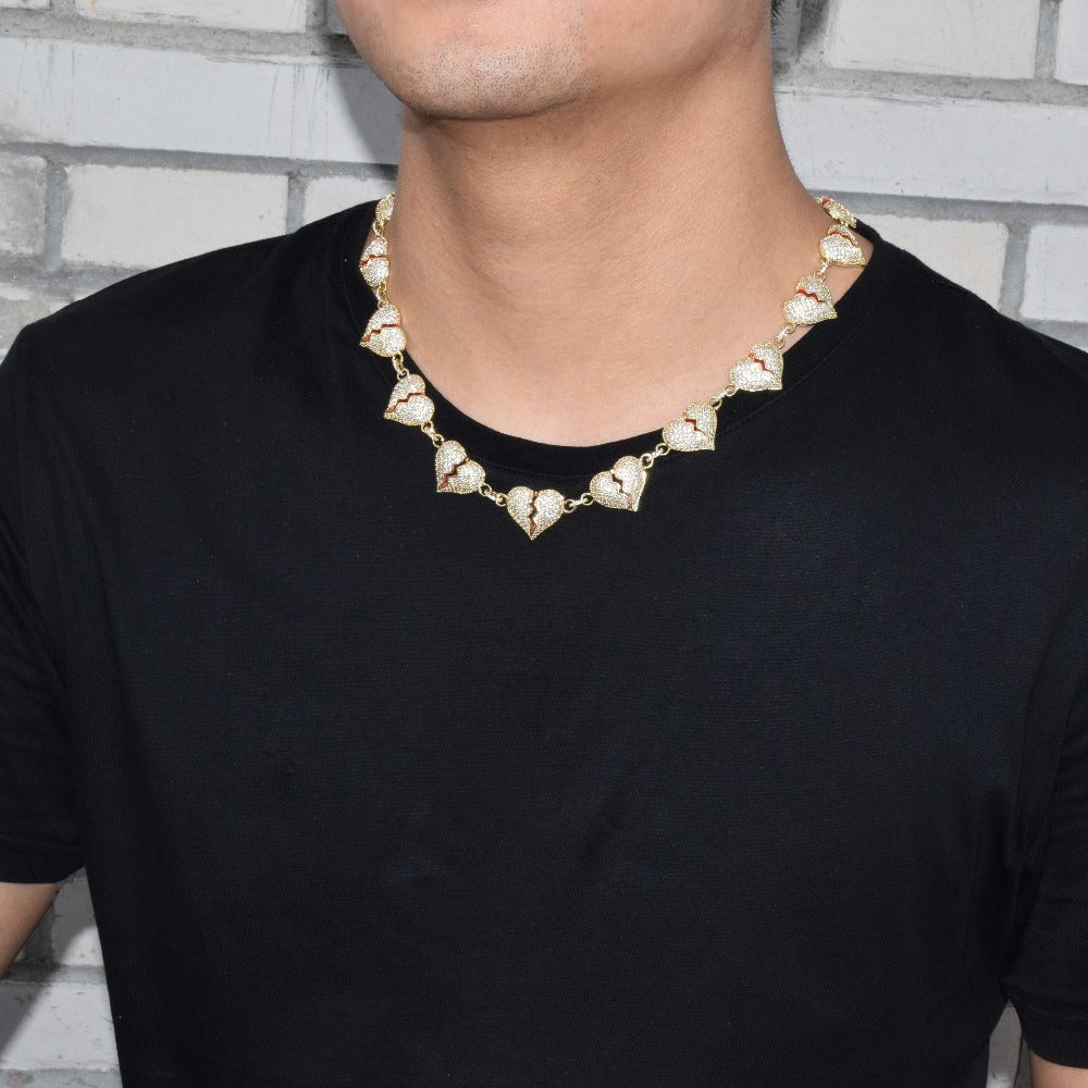 Goldplated Iced Out Gebroken Hart Ketting - ICED OUT