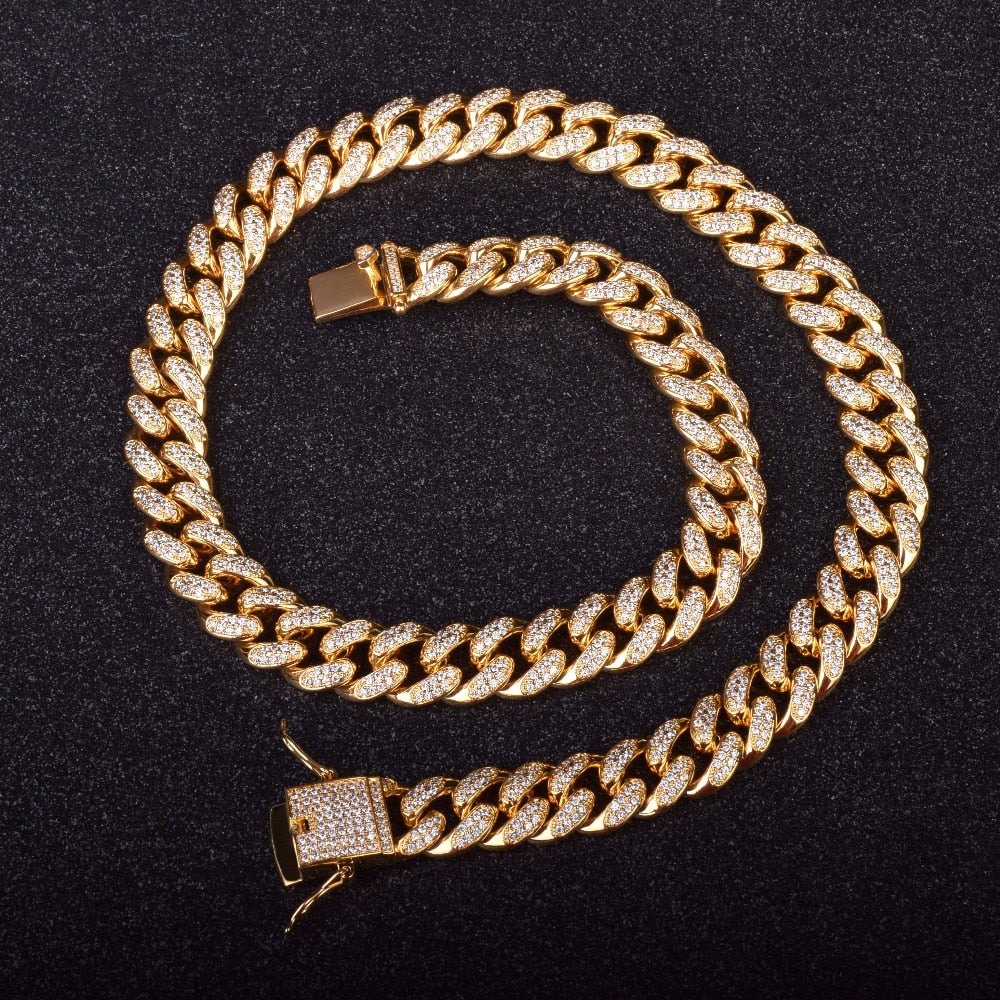 12mm Goldplated Miami Cuban Ketting - ICED OUT