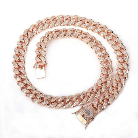 12mm Rosé Iced Out Miami Cuban Ketting - ICED OUT