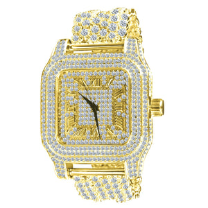 Goldplated Fully Iced Out King Square XXL horloge