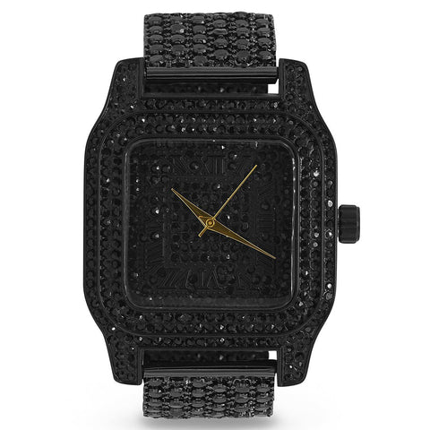 Zwarter Fully Iced Out King Square XXL horloge