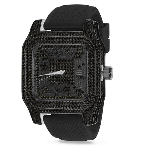 Zwarte Iced Out King Square XXL horloge