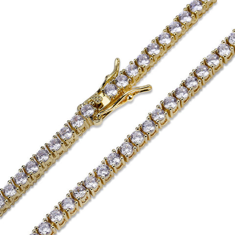 3mm Goldplated Tennis Armband - ICED OUT