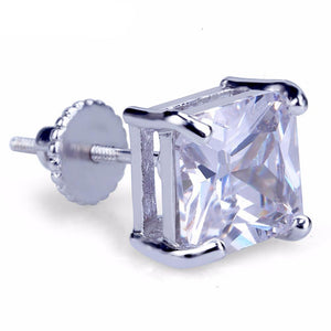 8mm Silveplated Princess Cut Oorbellen