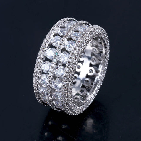 Image of Iced Out Exclusieve Silverplated Dubbele Rij Ring - ICED OUT