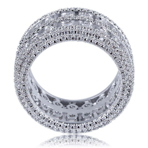 Iced Out Exclusieve Silverplated Dubbele Rij Ring - ICED OUT