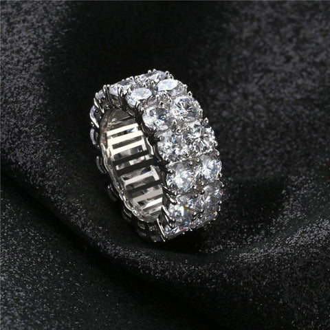 Image of Dubbele Rij Iced Out Silverplated Diamanten Ring - ICED OUT
