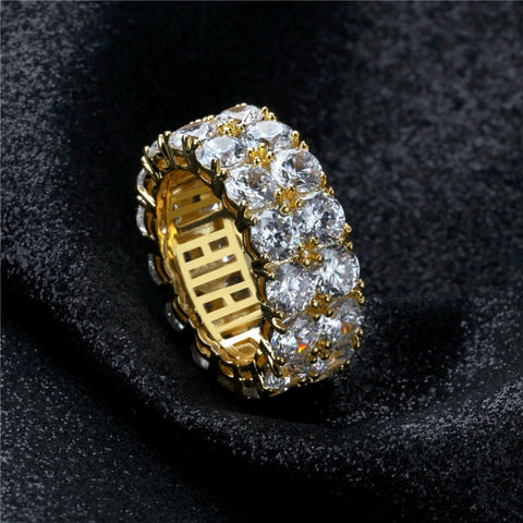 Dubbele Rij Iced Out Diamanten Ring - ICED OUT