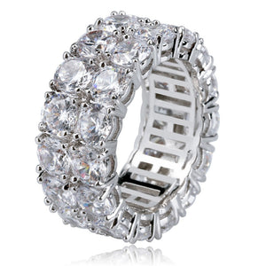 Dubbele Rij Iced Out Silverplated Diamanten Ring