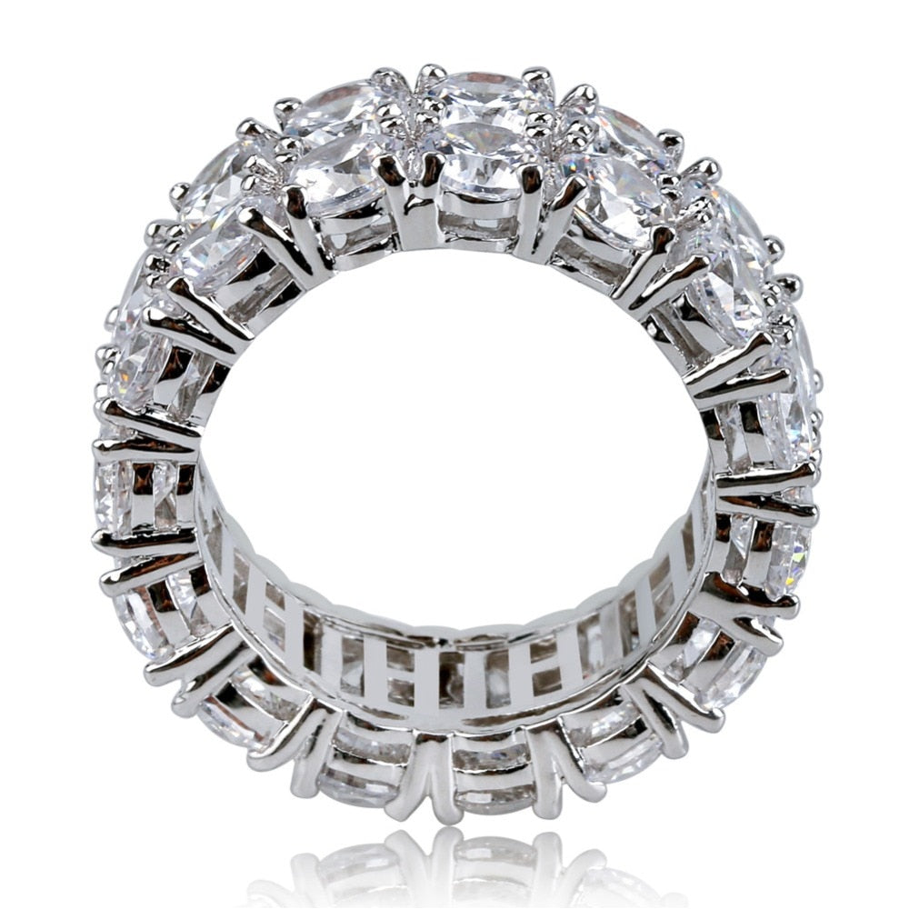 Dubbele Rij Iced Out Silverplated Diamanten Ring - ICED OUT
