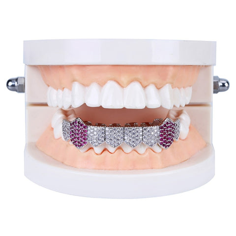 Image of Royal Pink Silverplated Fang Grill
