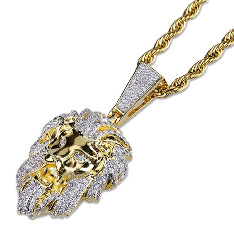 Image of Goldplated Iced Leeuwenkop Hanger - ICED OUT