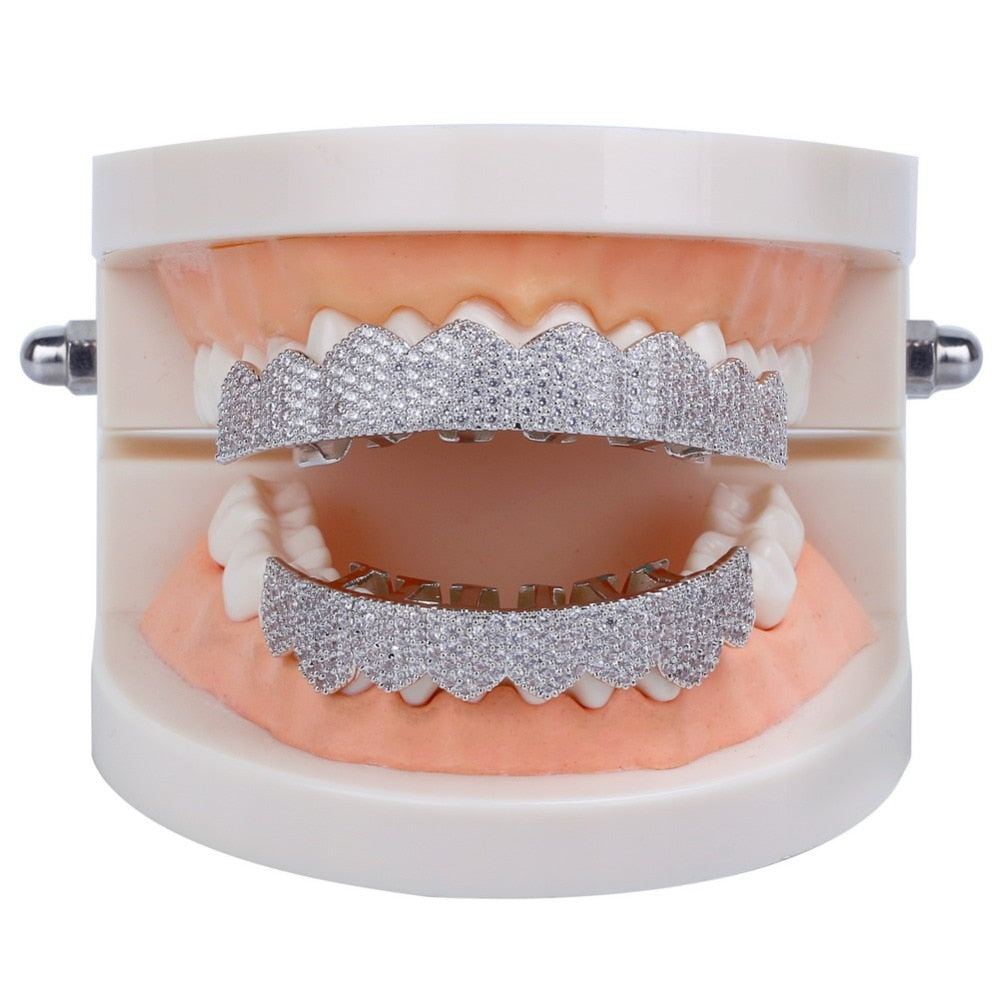 8/8 Premium Silverplated Iced Grillz Set