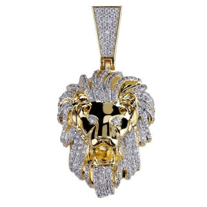 Goldplated Iced Leeuwenkop Hanger - ICED OUT