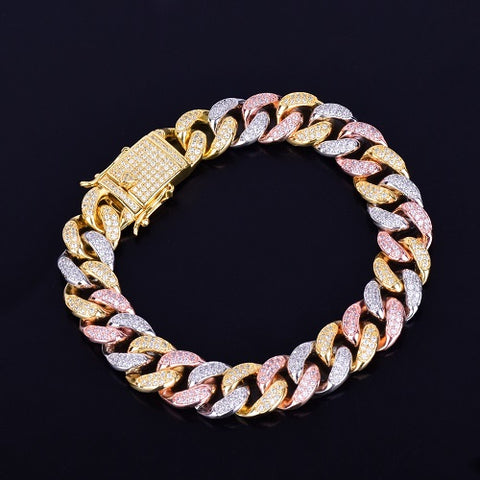 Image of 12mm Multi-Kleur Miami Cuban Armband - ICED OUT