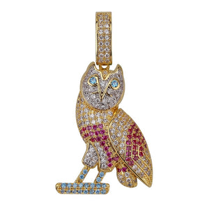 Multi kleur Iced Out Uil Ketting
