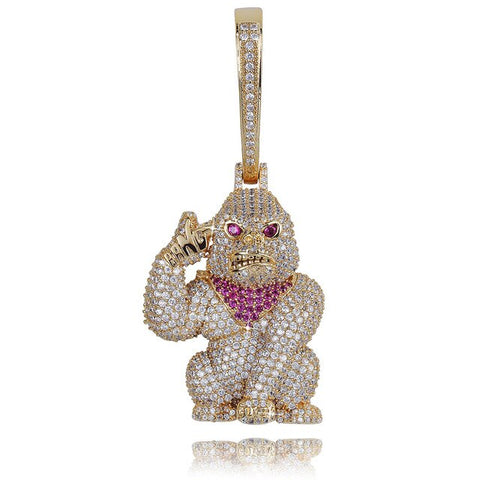 Goldplated Gorilla met rode bandana