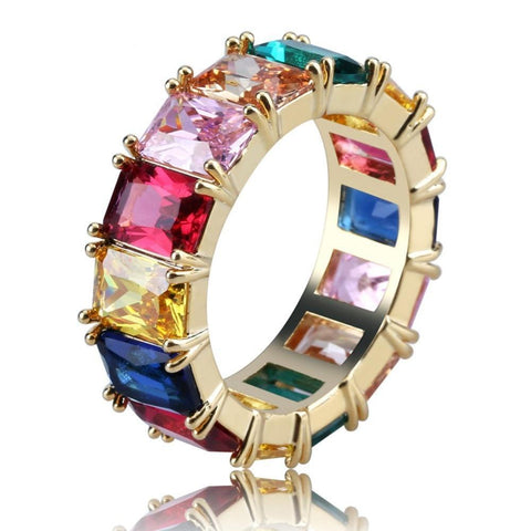 Image of Goldplated Regenboogkleuren Ring - ICED OUT