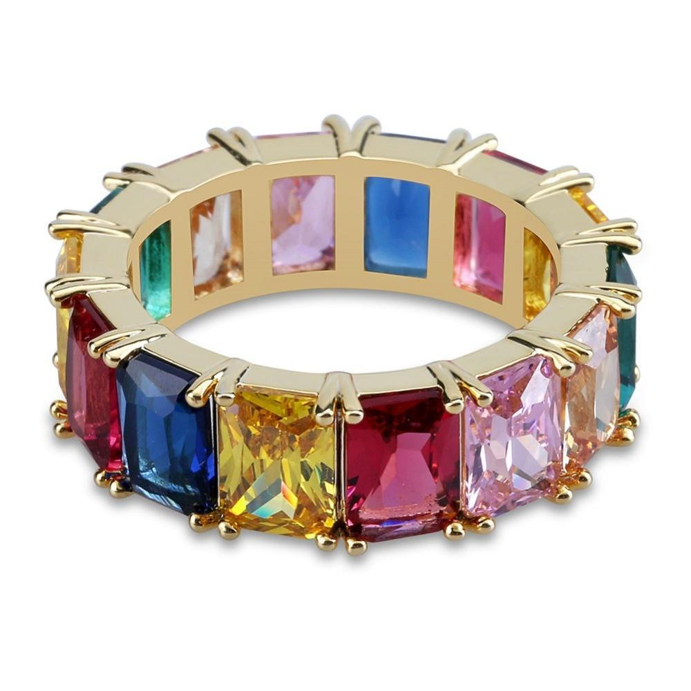 Goldplated Regenboogkleuren Ring - ICED OUT