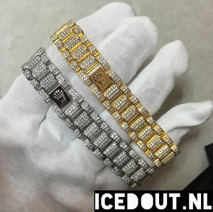 Silverplated Iced Out Rollie Armband