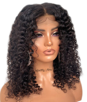 "Swiss Lace Closure Wig - 16"" Curly (JM Stock)"