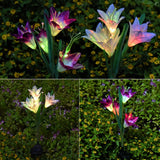 LED Solar Lily Flower Lights Solar Garden Lights 4 Head with Multi Color Changing, Garden Flowers to Decorate Garden Patio Backyard- 80cm