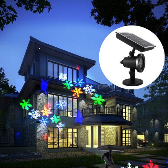 Solar Power LED Laser Projector Light Christmas Party Garden Landscape Lamp (Snowflake)