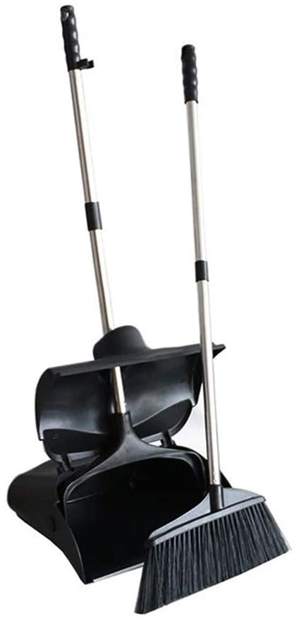 Heavy Duty Handled Dustpan Lobby Broom Commercial Sweep Combo Set Upright Grips (Black)