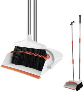"Blue Pigeon Broom and Dustpan Set | Long 54"" Handle Upright Dustpan with Clean Broom Combo