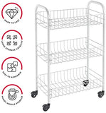 Blue Pigeon Metal Service Trolley Siena With 3 Stage, White 27 x 40 x 67 CM