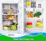Blue Pigeon Kitchen Fridge Organisers, Adjustable Fridge Drawer Storage, Space Saving Storage Shelf Organiser for Vegetables and Fruits-PACK 4