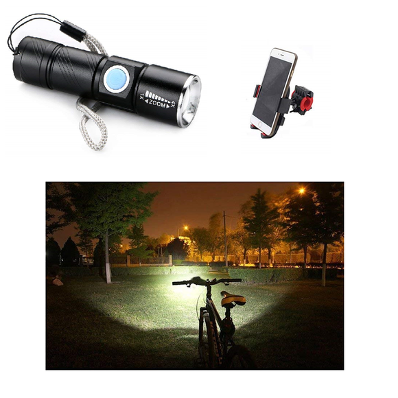 Combo - Universal Bike Phone Holder  + Mini USB Rechargeable LED Flashlight Q5 Zoom3 Modes