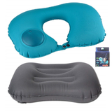 Combo - Camp Travel Pillow Inflatable Compressible Adjustable + U Shaped Airplane neck Cushion