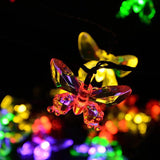 Butterfly Solar Powered string 6.5M 30 LED With 8 Modes Multicolor Lights Butterfly Optic Garden Patio Outside Weatherproof Outdoor String Lights For Homes Wedding LED Fairy Lights With Remote Control