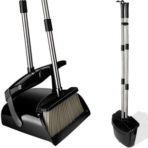 "Blue Pigeon Broom and Dustpan Set- 50"" Long Handle Broom and Dust Pan with Long Handle, Standing Upright Grips Sweep Set with Lobby Broom Combo Set for Home and Office-(Color-Black)"