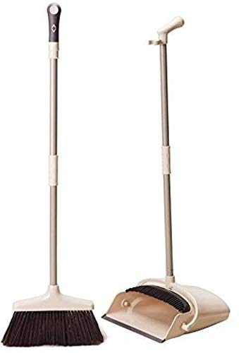 Broom and Dustpan Set Treelen Broom with Long Handle Free Standing for Office and Home