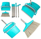 "Broom and Dustpan Set | Long 54"" Handle Upright Dustpan with Clean Broom Combo