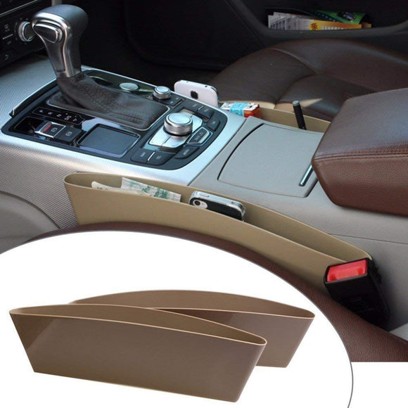 Catch Caddy Car Seat Organizer (Set Of 2) Side Gap Pocket For Wallet, Phones Maps Cash & Glasses