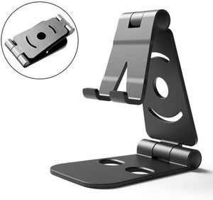 Mobile Phone Holder Bracket Mount Desk Stand Double Folding Portable for Tablet - BLACK