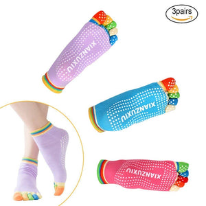 3 Pairs Womens Anti-Slip Grip Workout Yoga Socks (MULTICOLOR)