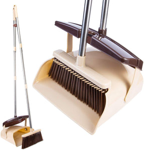"Broom and Dustpan Set- 50"" Long Handle Broom and Dust Pan with Long Handle, Standing Upright Grips Sweep Set with Lobby Broom Combo Set for Home and Office-(Color-Brown)"