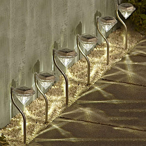 4 Pack Stainless Steel Solar Powered Diamond Stake Lights Garden Border Lanterns