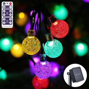 Solar Powered String Lights Outdoor, Bubble Globe Solar Lights 17M 100 LED String Light Crystal Ball with Remote Control 8 Lighting Modes for Fairy Garden,Patio,Wedding,Party and Holiday Decorations