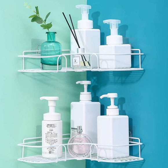 Blue Pigeon Shower Caddy Bathroom Corner Shelf Kitchen Shelves Storage Organizer Basket Tidy No Drilling Rustproof Shampoo Conditioner Holder(2 pcs) (WHITE)