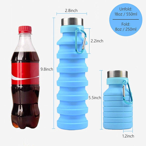 Water Bottle Collapsible Retractable Water Bottle Collapse Water Bottle Silicone Sports Bottle Outdoor Drinking Cup Travelling, Camping, Hiking 550ml