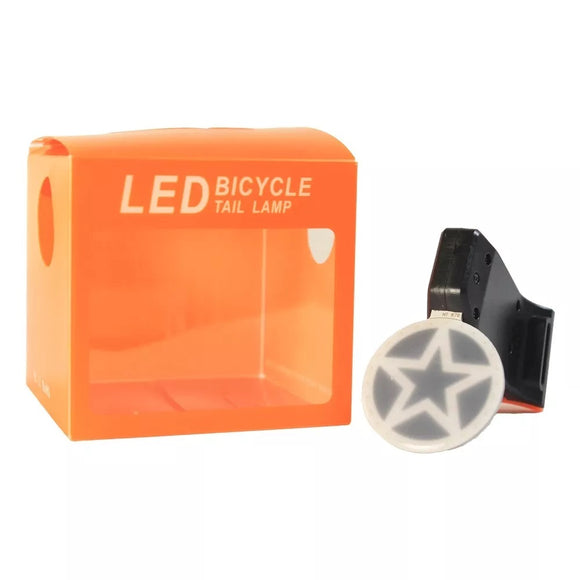 USB Rechargeable Bike Tail Light LED Bicycle Rear Lamp - STAR PATTERN